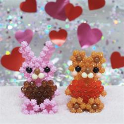 3D hjertelig bjørn og kanin